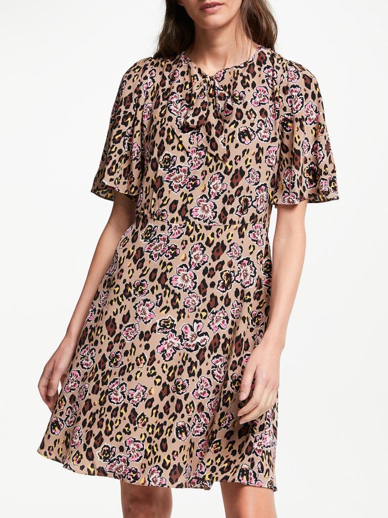 Somerset by Alice Temperley Leopard Floral Tie Neck Dress