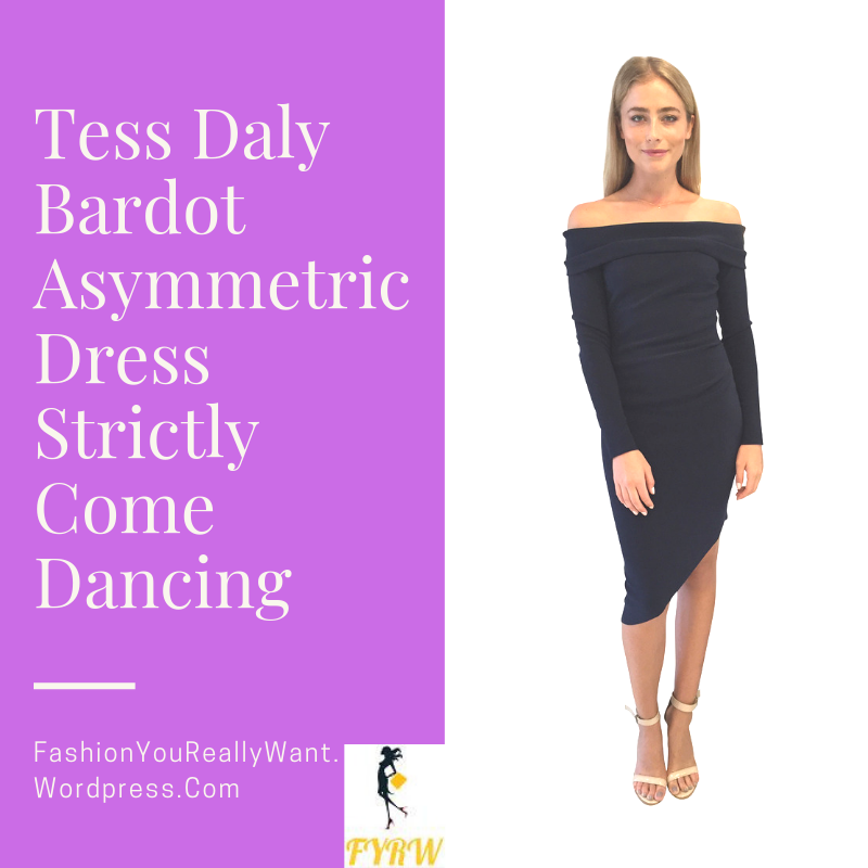 Tess Daly Strictly dress black off the shoulder bardot asymmetrical dress outfit October 2018