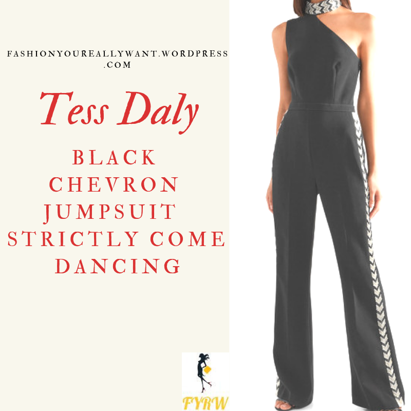 Tess Daly Strictly outfit black one shoulder jumpsuit chevron trim October 2018 blog