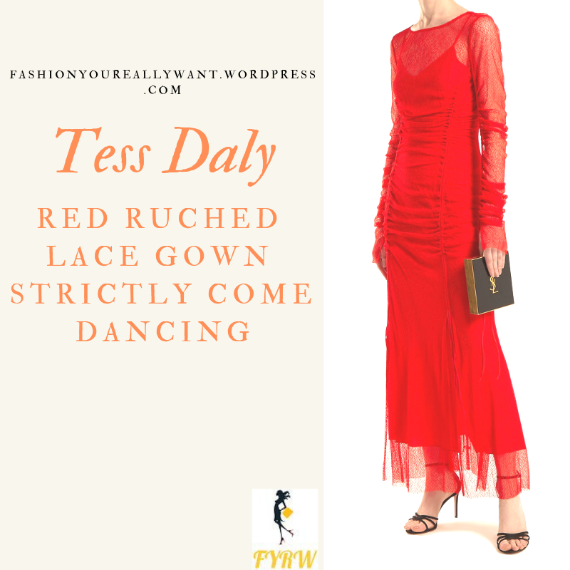 Where to get Tess Daly red ruched lace dress Halloween Strictly outfit October 2018