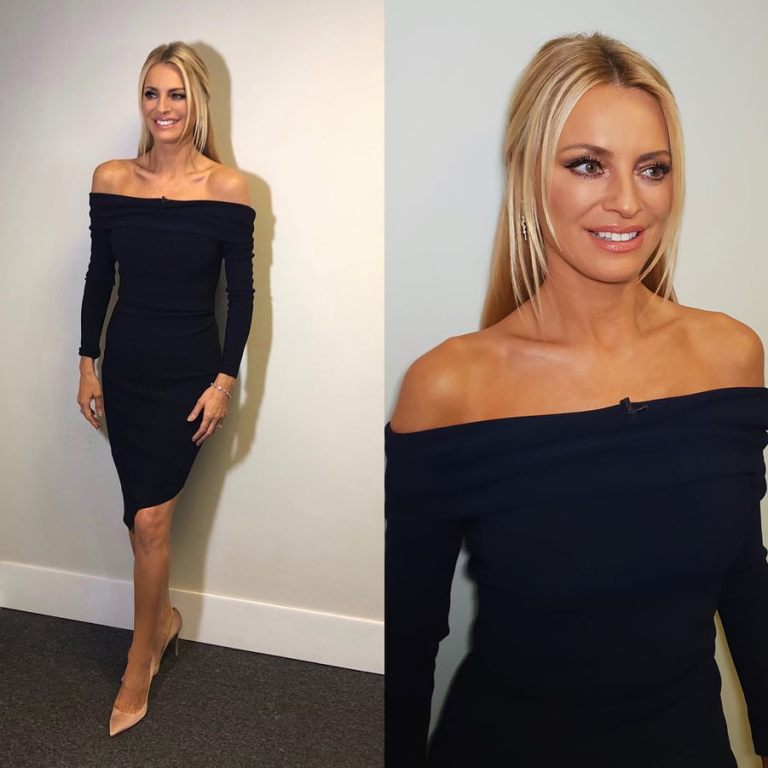 Tess Daly Strictly dress black off the shoulder long sleeve dress October 2018
