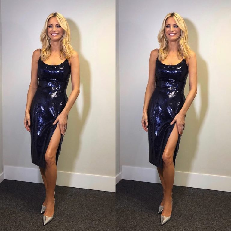 Tess Daly Strictly dress blue sequin slip dress October 2018