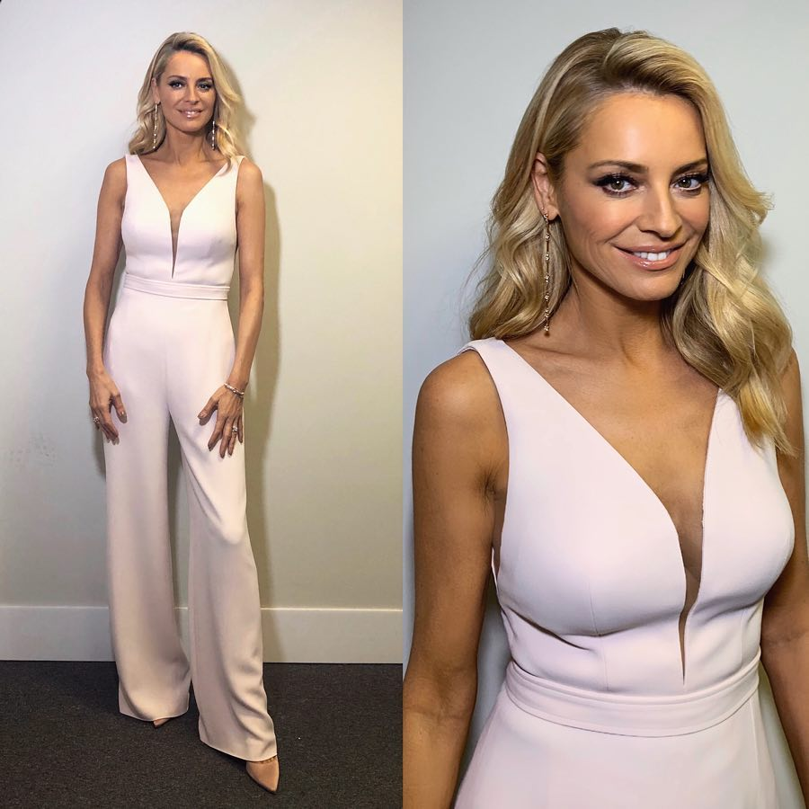 Tess daly Strictly jumpsuit white plunge jumpsuit October 2018