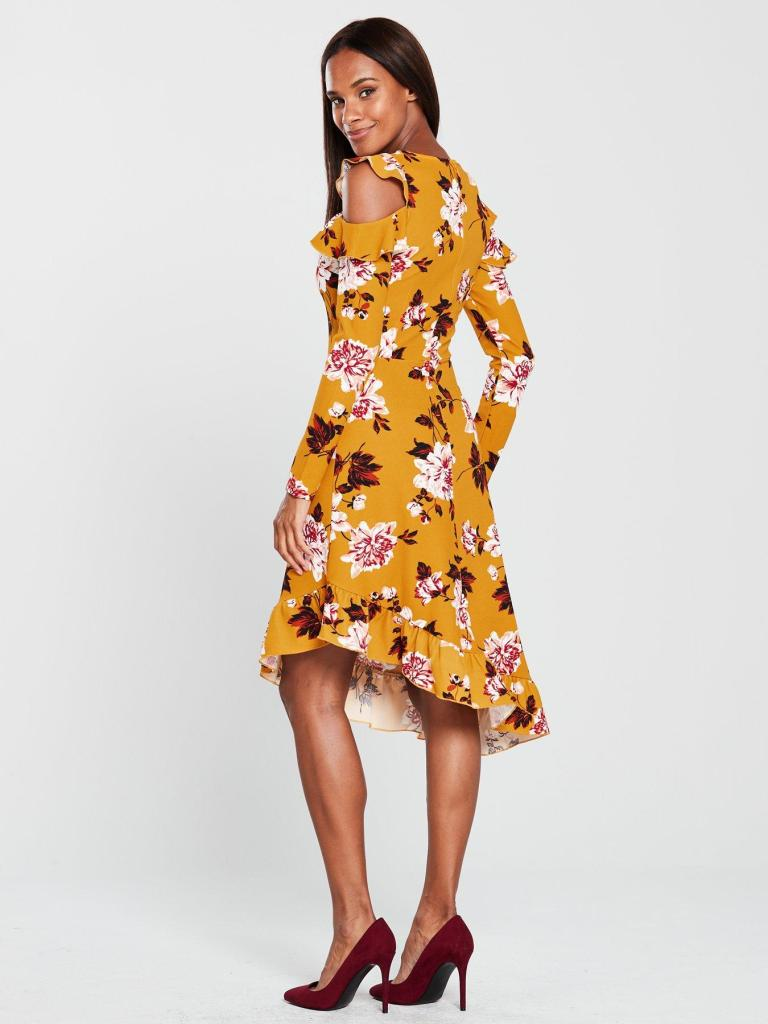 V By Very Frill Asymmetric Cold Shoulder Dress in Floral Print back view