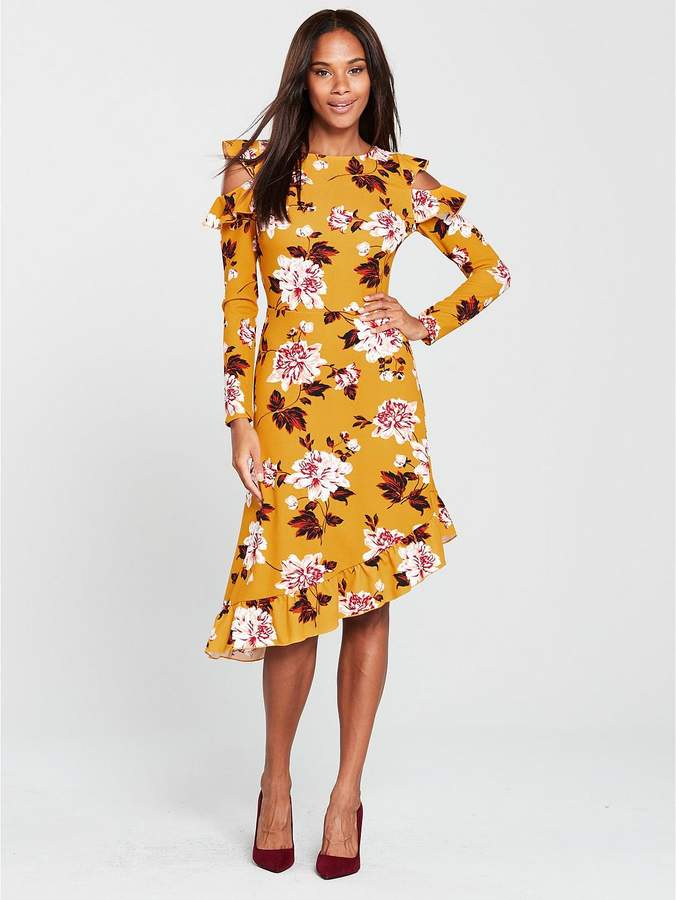 V By Very Frill Asymmetric Cold Shoulder Dress in Floral Print