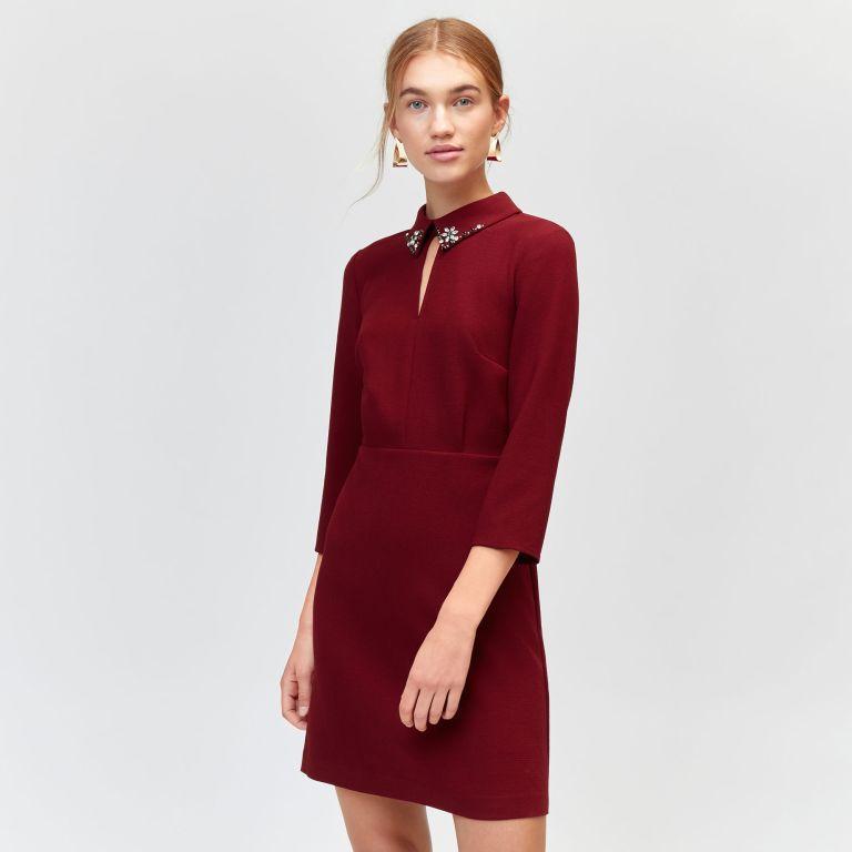 Warehouse Diamante Collar Shift Dress