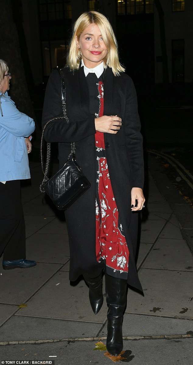 where to get holly Willoughby red and black dress October 2018