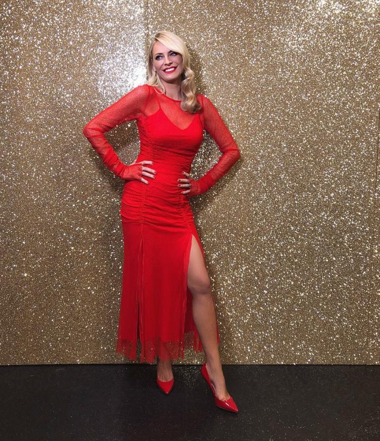 Where to get Tess Daly Strictly red ruched lace gown October 2018
