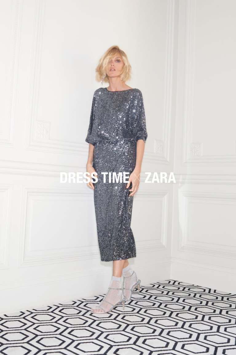 zara silver backless sequinned dress