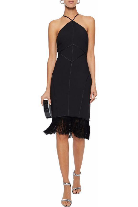 Cinq À Sept Bryn Fringed Satin-Trimmed Crepe Halterneck Dress
