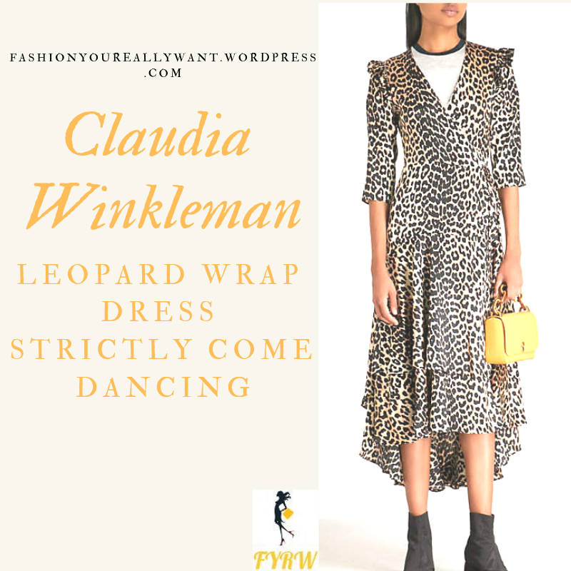Where to get Claudia Winkleman Strictly grey silver Leopard Wrap Dress leopard court shoes blog November 2018
