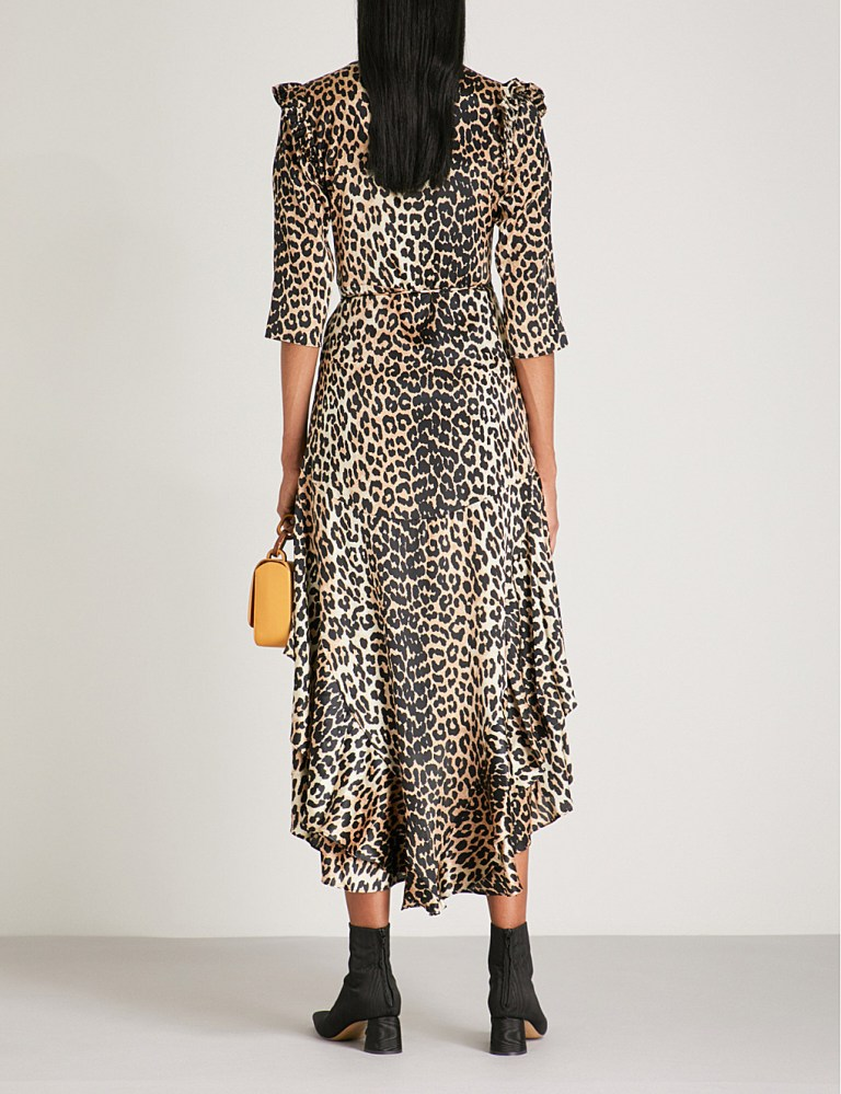 Ganni Calla leopard-print stretch-silk wrap dress back view