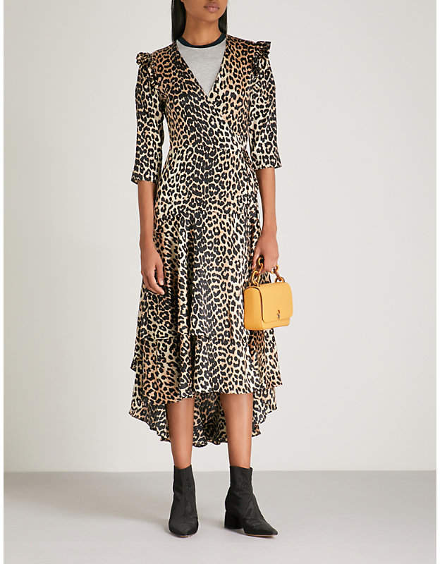 Ganni Calla leopard-print stretch-silk wrap dress