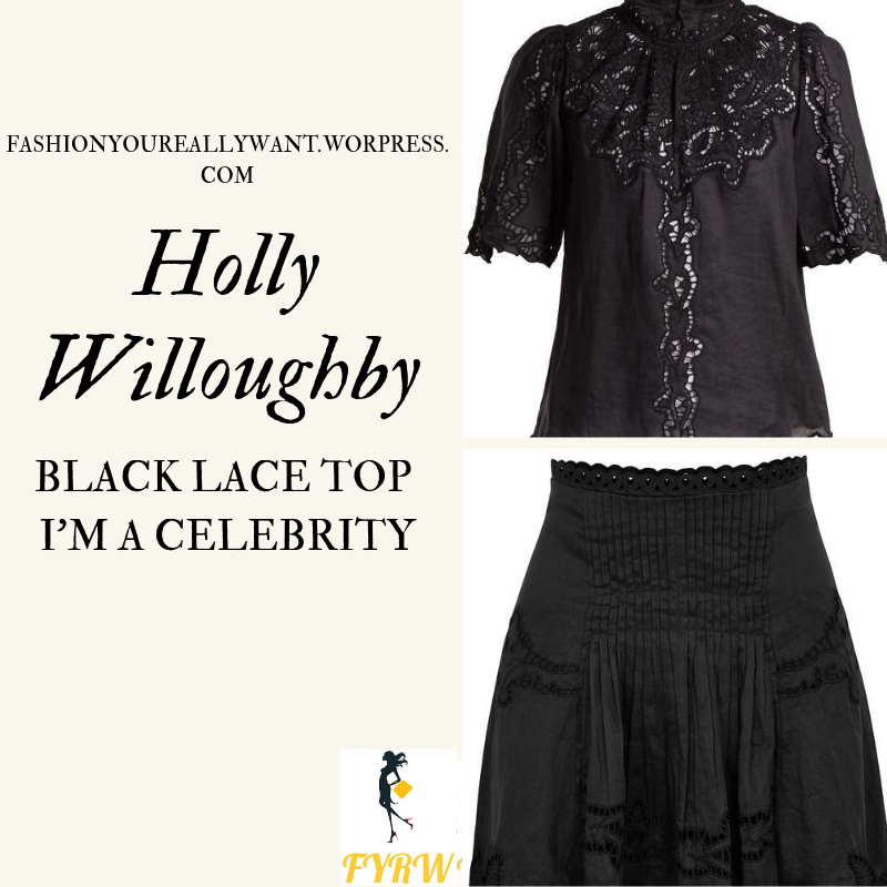 Where to get Holly Willoughby I'm A Celebrity black lace top black ankle boots outfit today blog November 2018