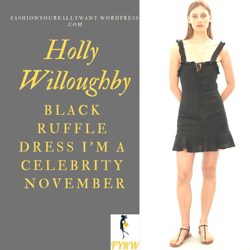 Where to get Holly Willoughby I'm a Celebrity Black Ruffle sun Dress gold pendant black boots outfit blog November 2018