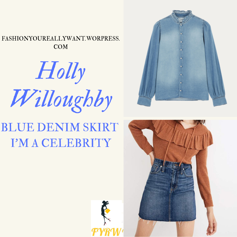 Where to get Holly Willoughby I'm a Celebrity blue denim skirt chambray shirt tan ankle boots outfit blog November 2018