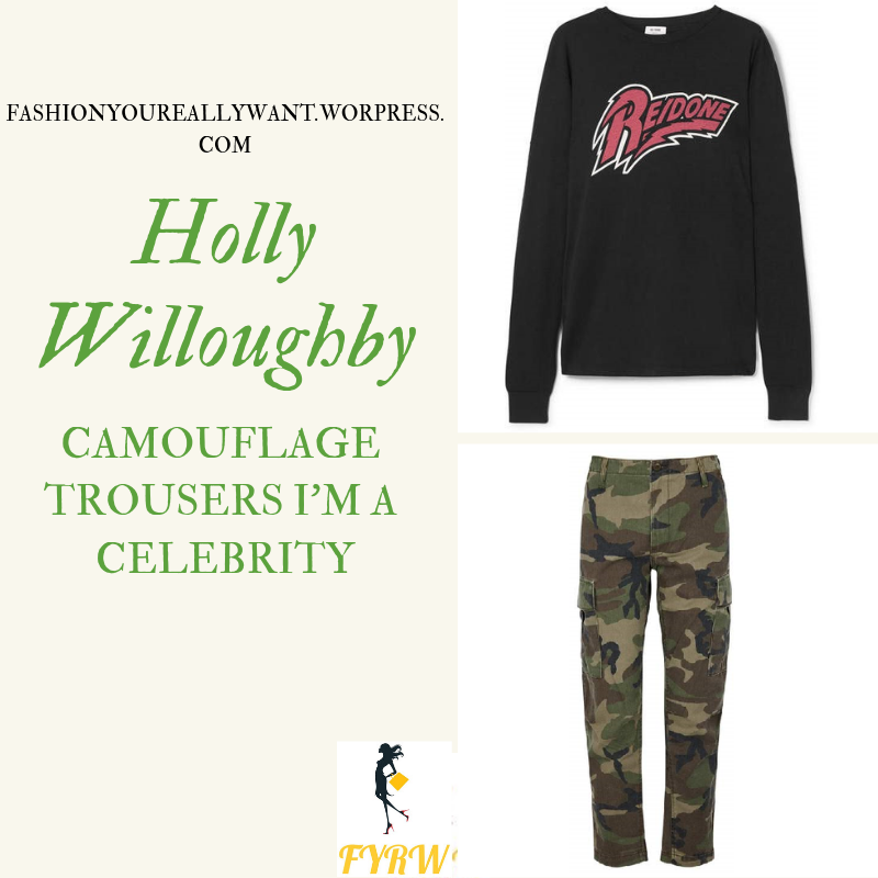 Where to get Holly Willoughby I'm a Celebrity camouflage trousers Re/done t-shirt November 2018