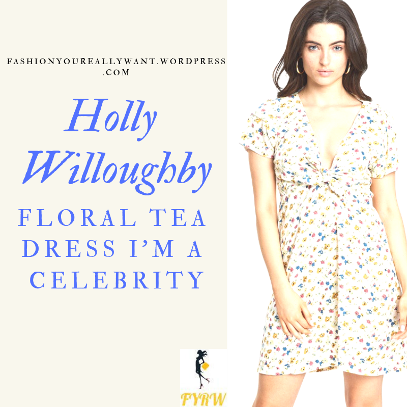 Where to get Holly Willoughby I'm a Celebrity floral white tie front dress tan boots outfit blog November 2018