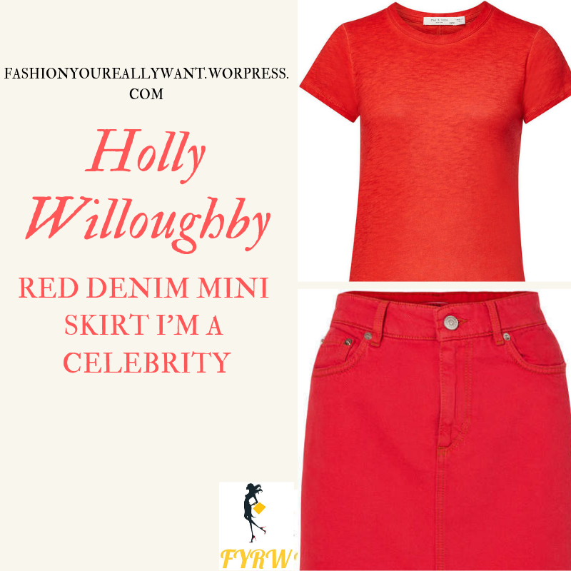 Where to get Holly Willoughby I'm a Celebrity red denim mini skirt red t-shirt boots with red laces outfit today blog November 2018