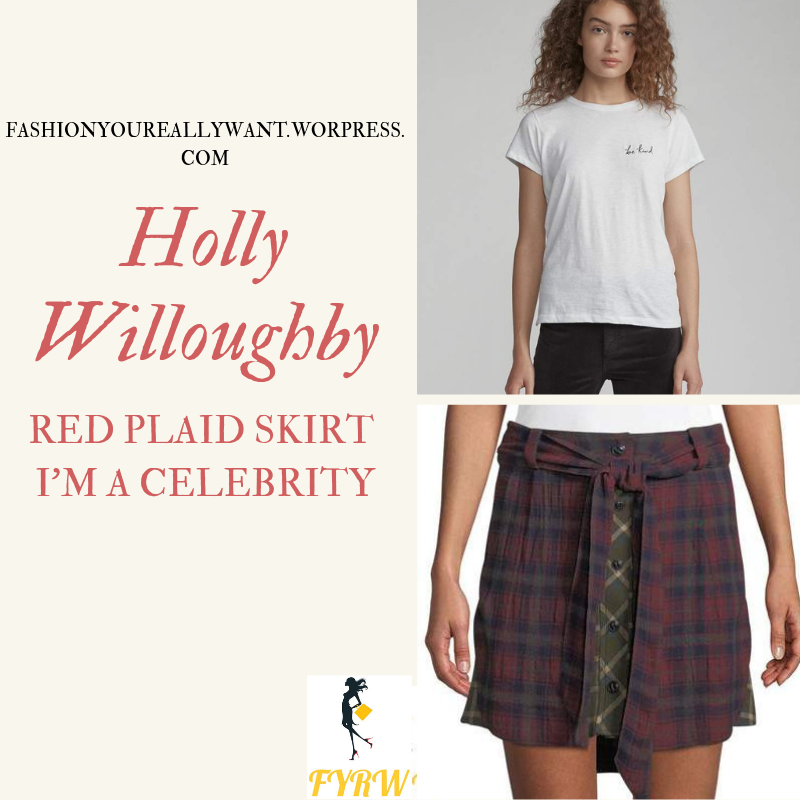 Where to get Holly Willoughby I'm a Celebrity red plaid skirt Bee Kind white t-shirt black shiny boots with pink laces outfit blog November 2018