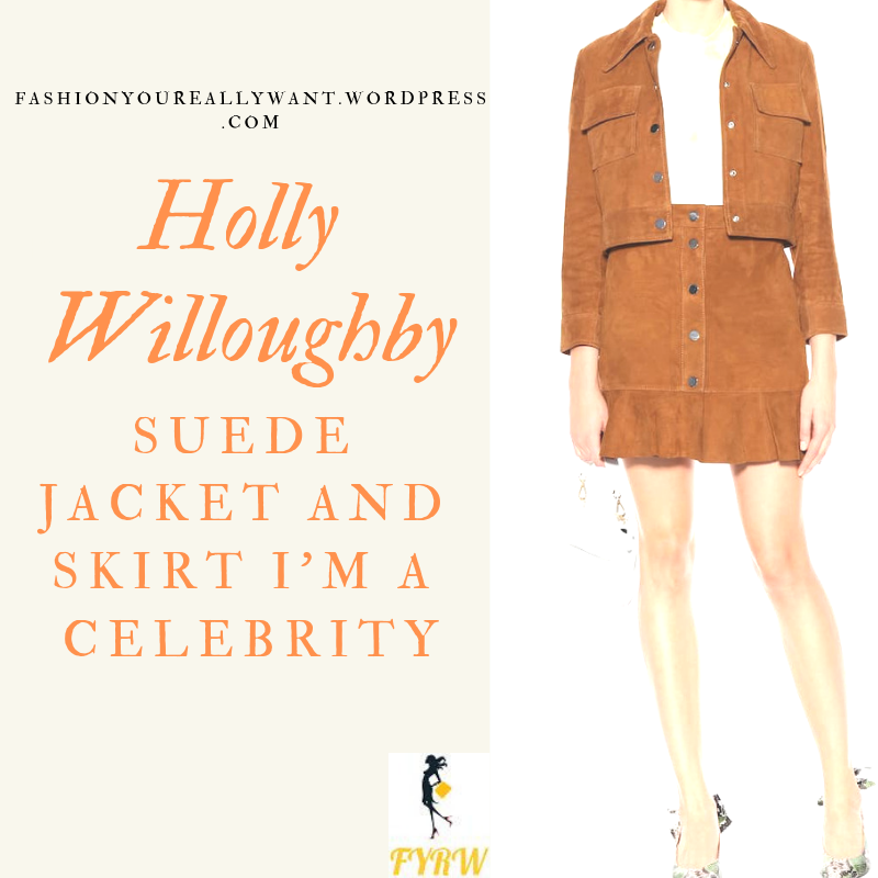 Where to get Holly Willoughby brown suede shirt jacket and skirt I'm a Celebrity November 2018