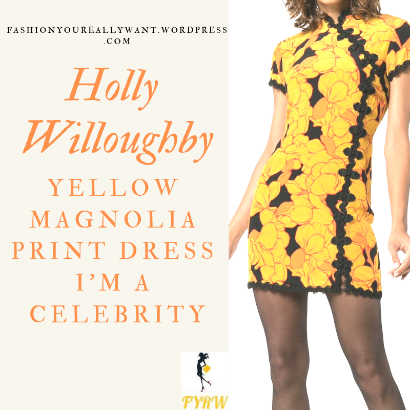 Where to get Holly Willoughby yellow and orange floral mini dress with black trim outfit blog November 2018