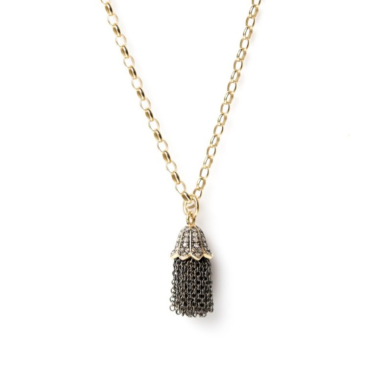 Kirstie Le Marque Diamond Tassel on Medium Gold Chain