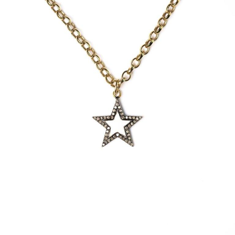 Kirstie Le Marque White Enamel & Diamond Chunky Star Necklace