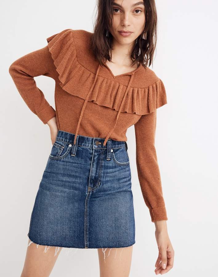 Madewell Rigid Denim Straight Mini Skirt Reworked Edition