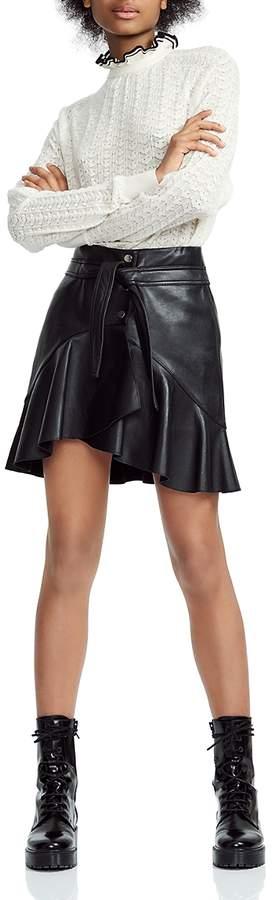 Maje Janaki Leather Wrap Skirt