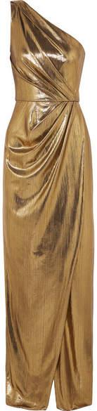 Marchesa Notte One-shoulder Draped Lamé Gown