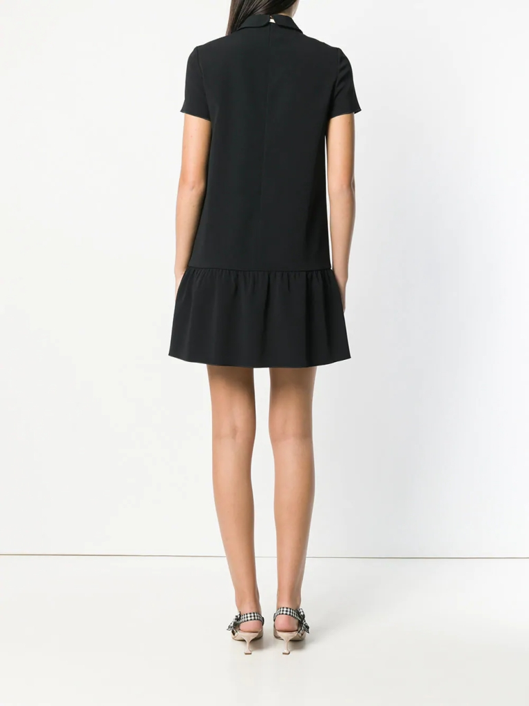 Red Valentino bow tie neck dress back view