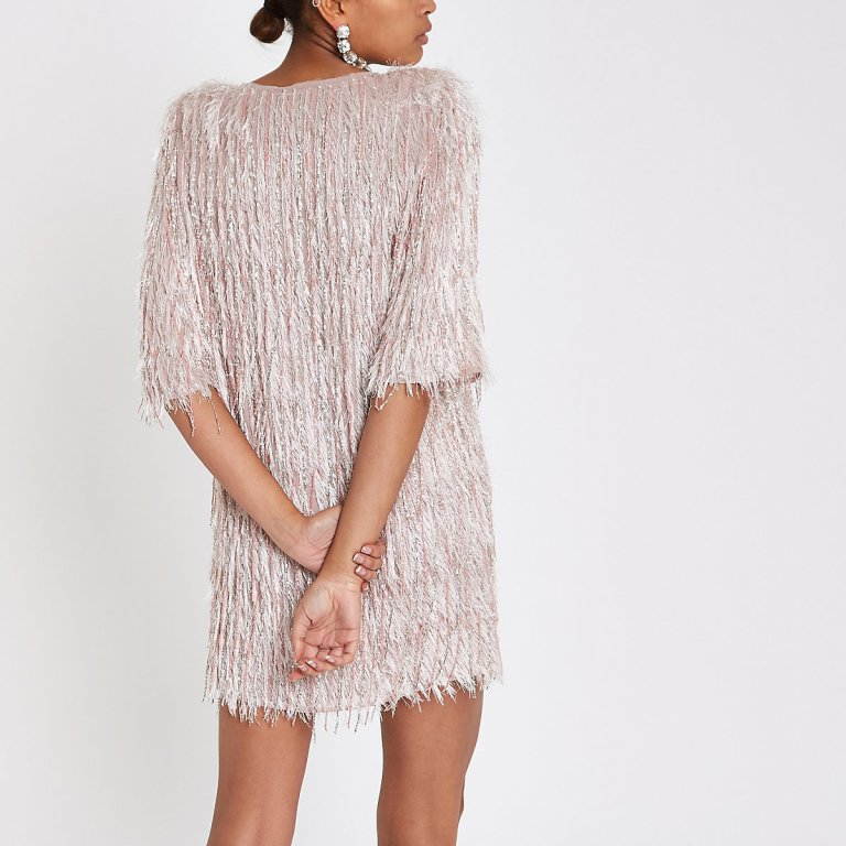 River Island Light Pink sequin fringe swing dress back view