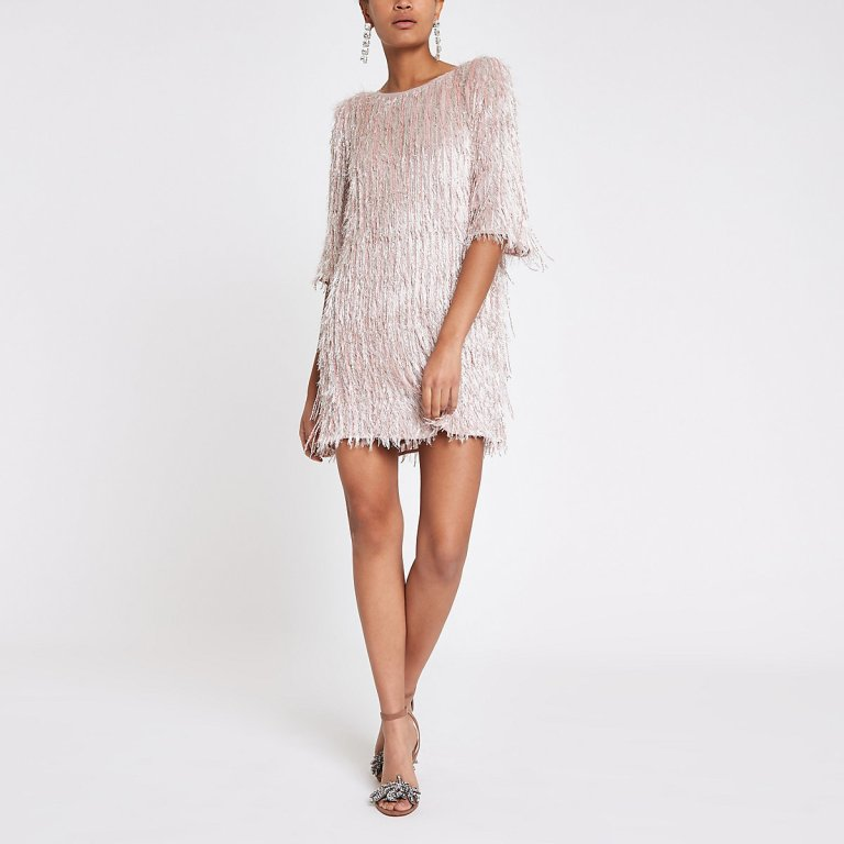 River Island Light Pink sequin fringe swing dress