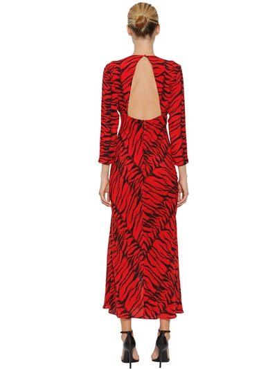 Rixo Rose Tiger Print Silk Midi Dress back view