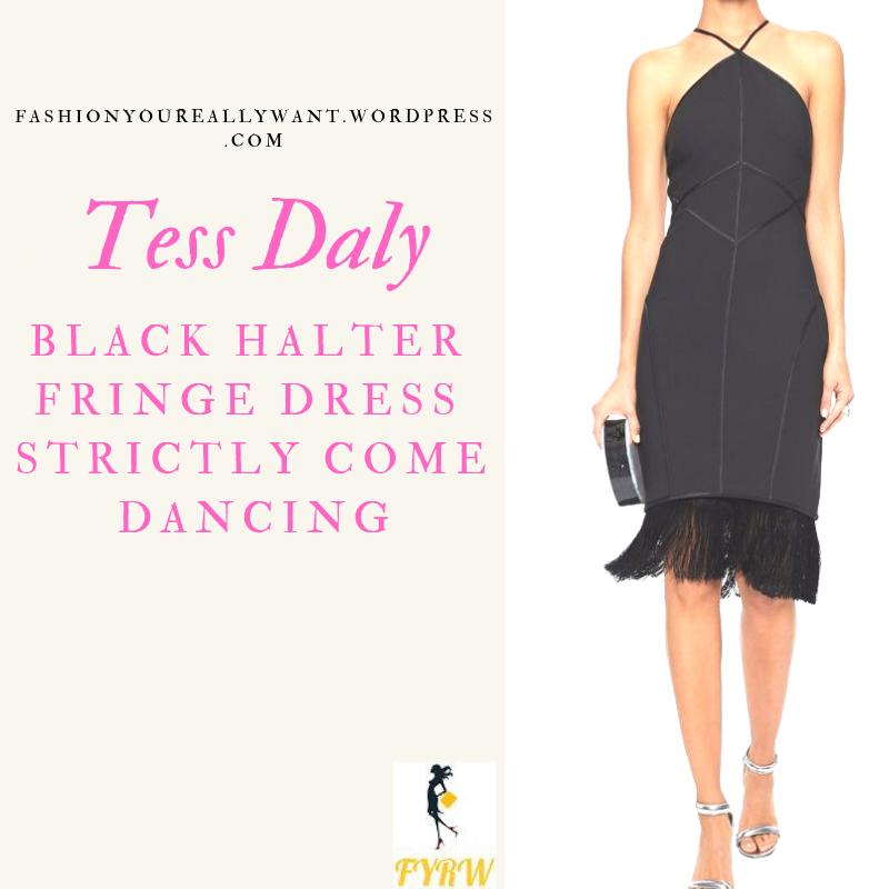 Where to get Tess Daly Strictly black halterneck fringe hem dress outfit November 2018
