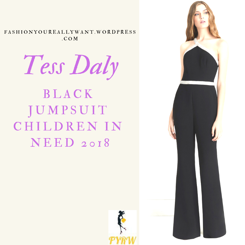 Where to get Tess Daly black embellished jumpsuit children in Need 2018