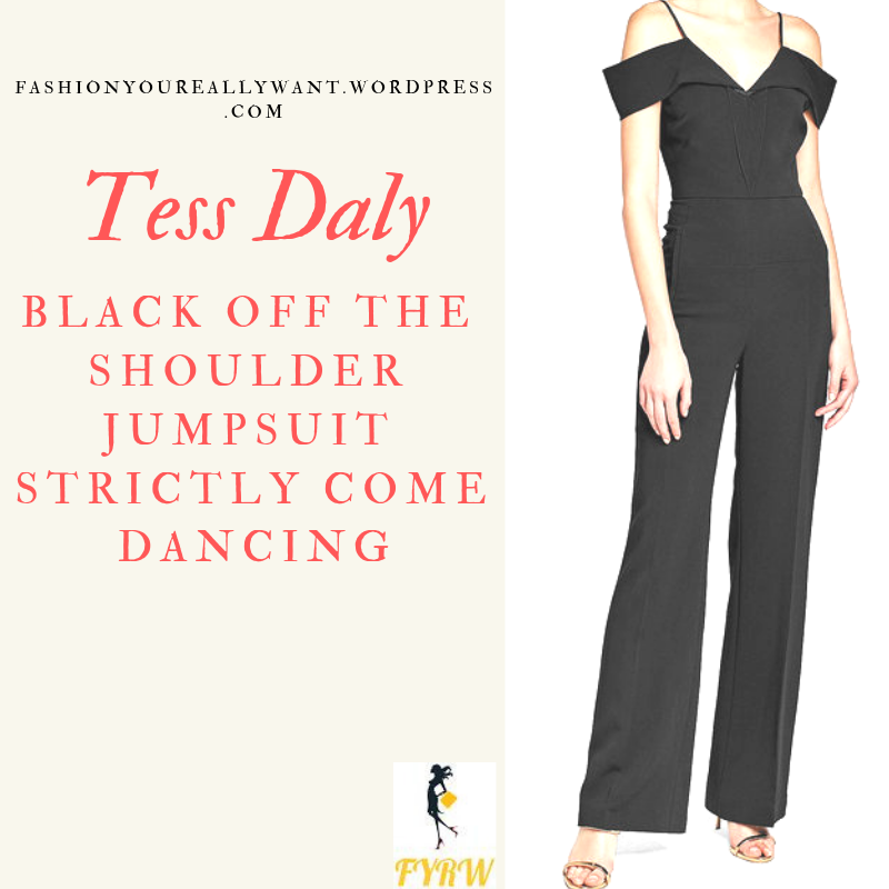Where to get Tess Daly Strictly black off the shoulder jumpsuit outfit blog November 2018