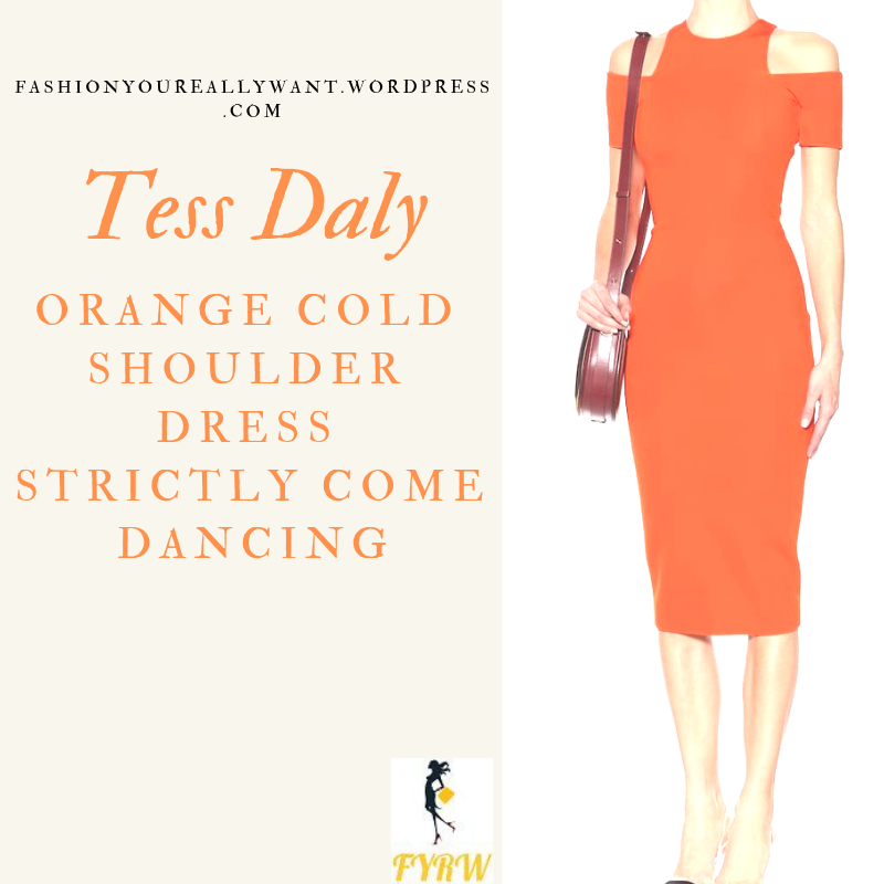 Where to get Tess Daly Strictly orange cold shoulder dress outfit blog November 2018
