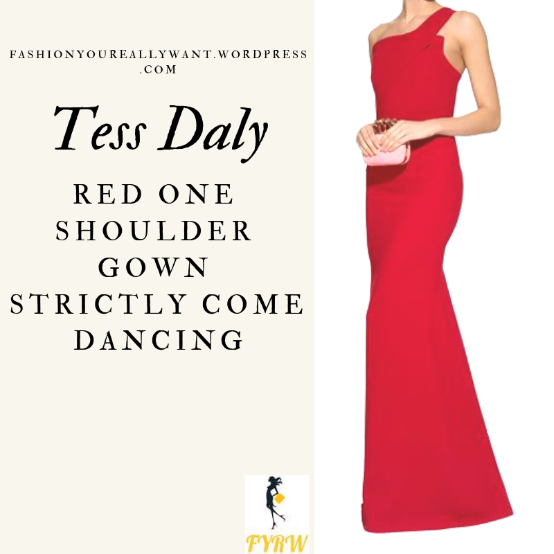 Where to get Tess Daly Strictly red one shoulder gown dress November 2018