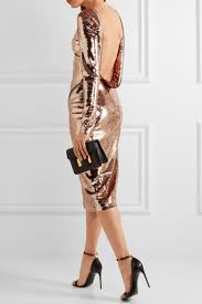 TOM FORD Zip-detailed sequined satin midi dress Pink back view