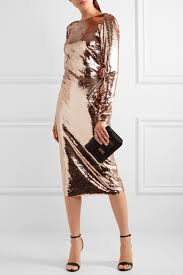 TOM FORD Zip-detailed sequined satin midi dress Pink