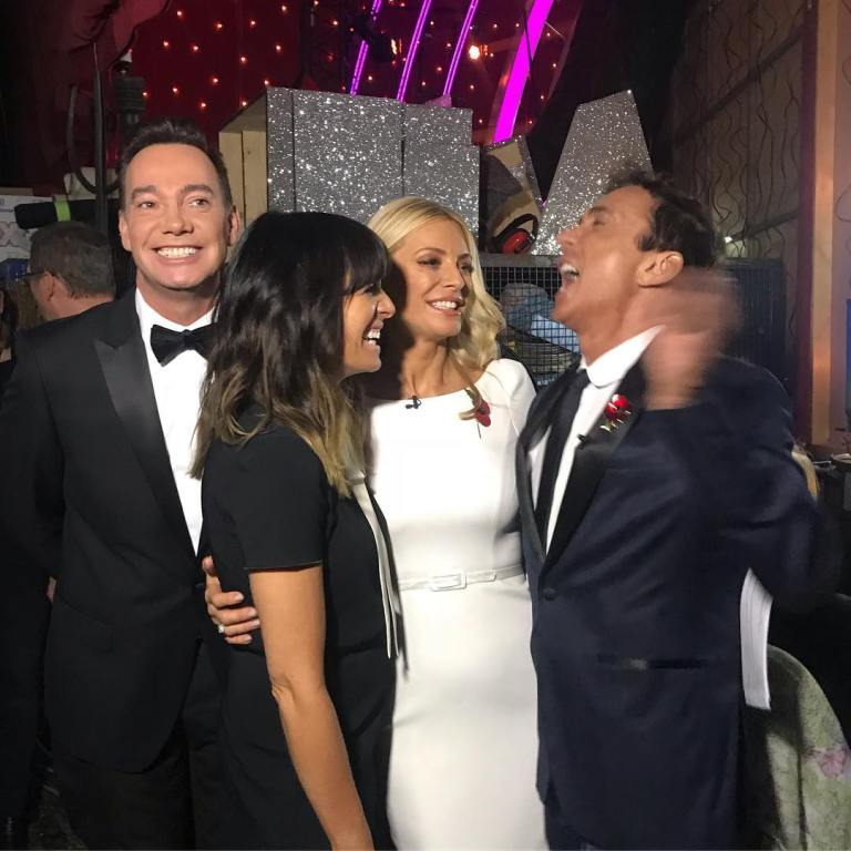 Where to get claudia winkleman black dress white tie Tess Daly white split sleeve dress Strictly November 2018