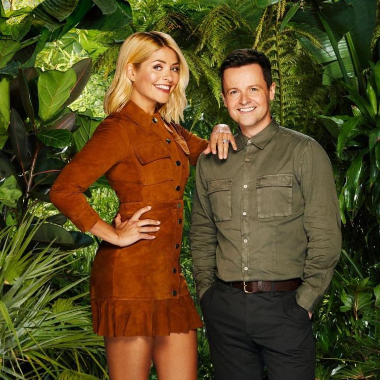 Where to get Holly Willoghby brown suede shirt and skirt I'm a Celebrity November 2018