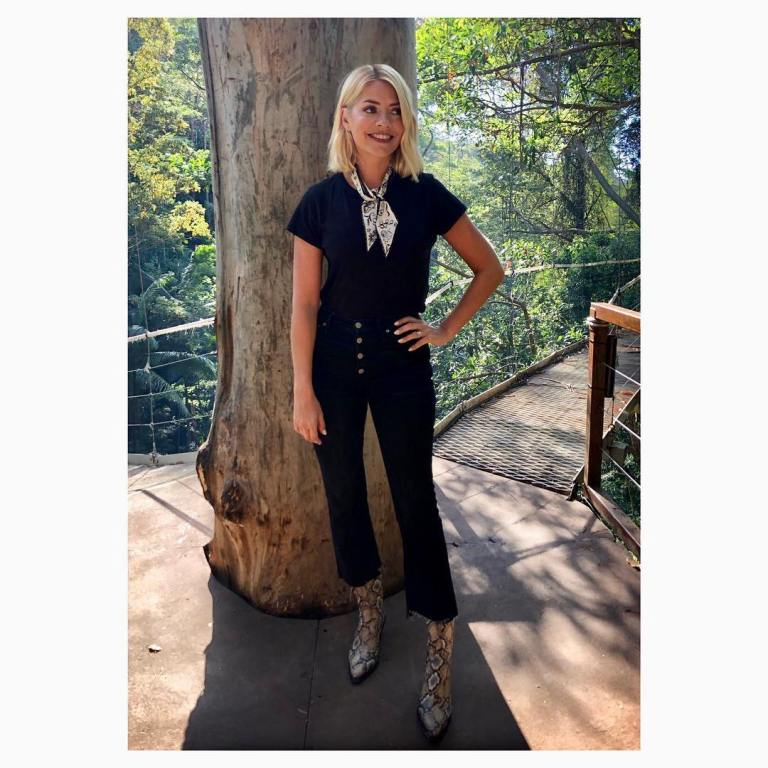 where to get Holly Willoughby black button jeans black t-shirt scarf snakeskin boots I'm a Celebrity November 2018