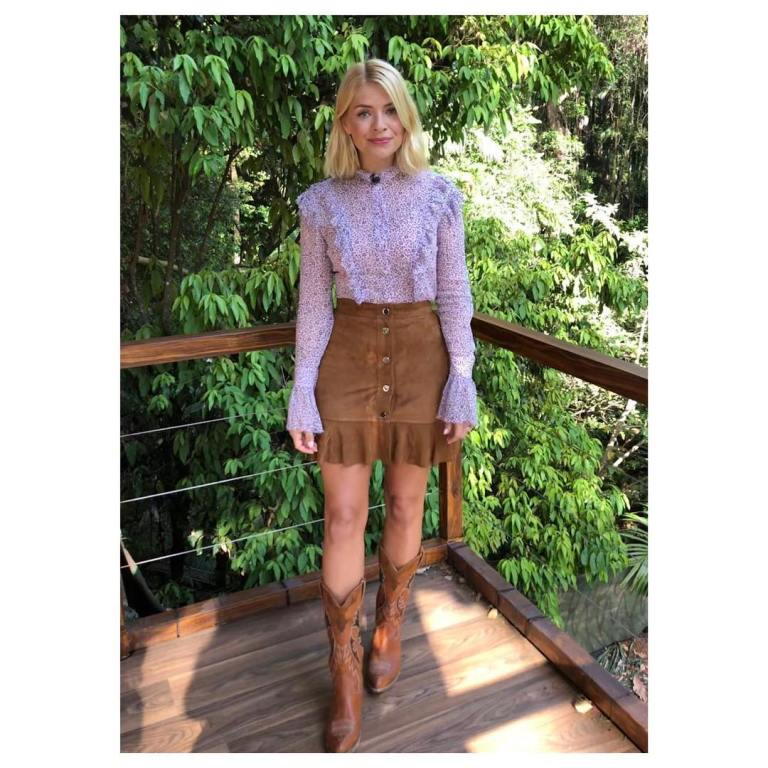 where to get holly willoughby floral frill shirt brown suede skirt brown cowboy boots I'm a Celebrity November 2018