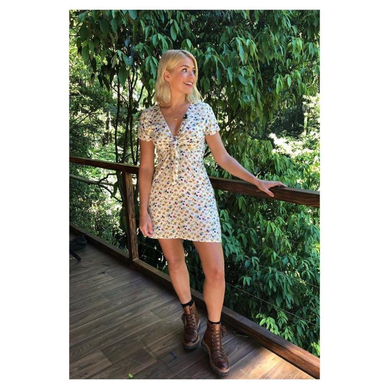 Where to get holly willoughby I'm a Celebrity floral tie front dress tan boots November 2018
