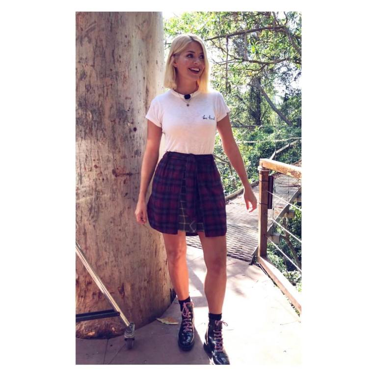 where to get holly Willoughby I'm a Celebrity red plaid skirt white t-shirt black shiny boots November 2018