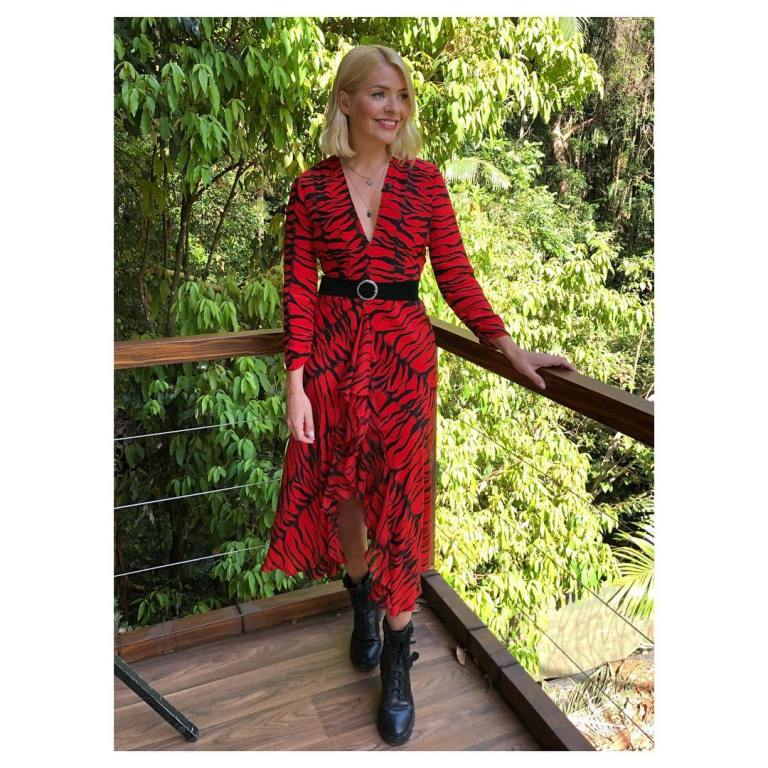 where to get holly Willoughby red tiger print dress black boots I'm a Celebrity November 2018