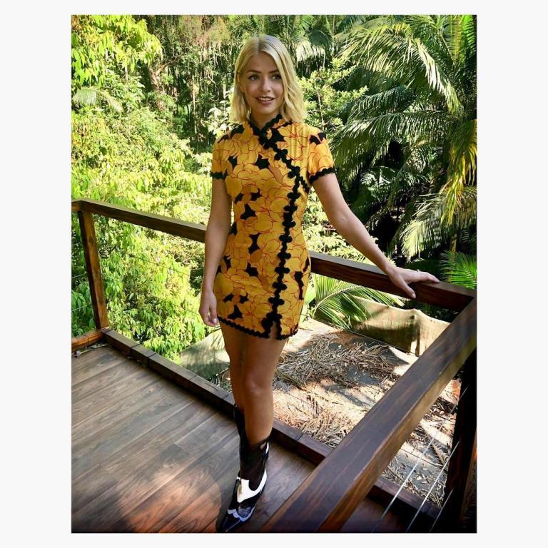 where to get holly willoughby yellow and orange oriental floral dress black and white cowboy boots I'm a Celebrity November 2018